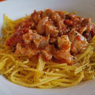 Spaghetti mit Kaninchen und Auberginenkaviar 1